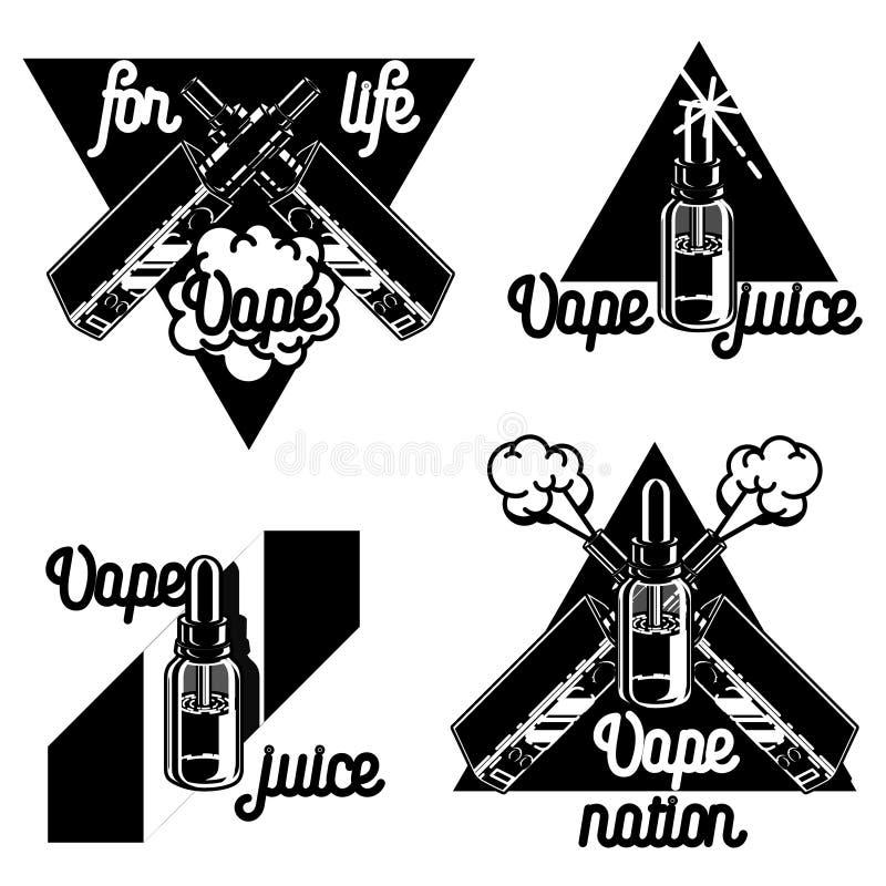 Vintage vape, e-cigarette emblems royalty free illustration