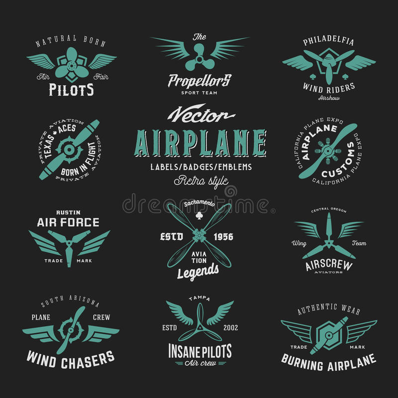 Vintage Vector Airplane Labels Set with Retro Typography. Shabby Texture on Dark Background vector illustration