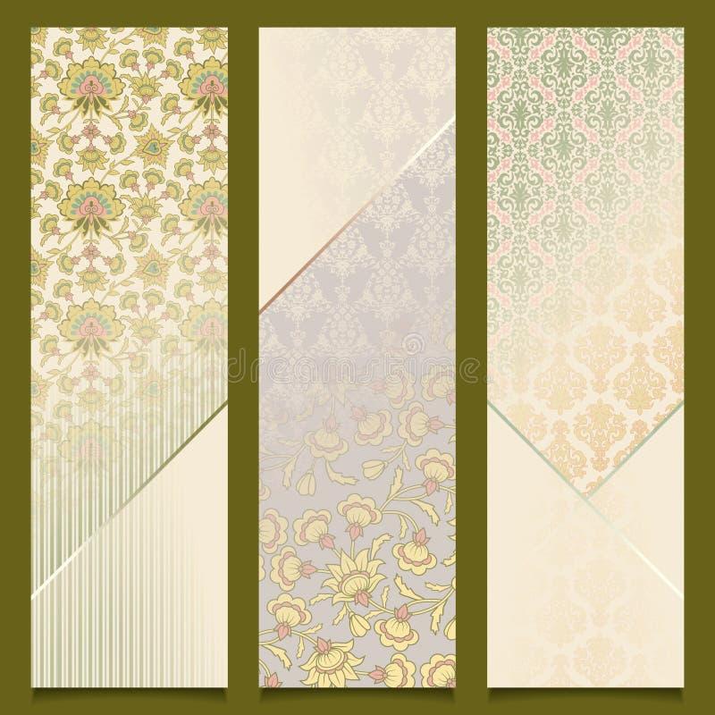 Vintage vector banners retro pattern design set stock illustration