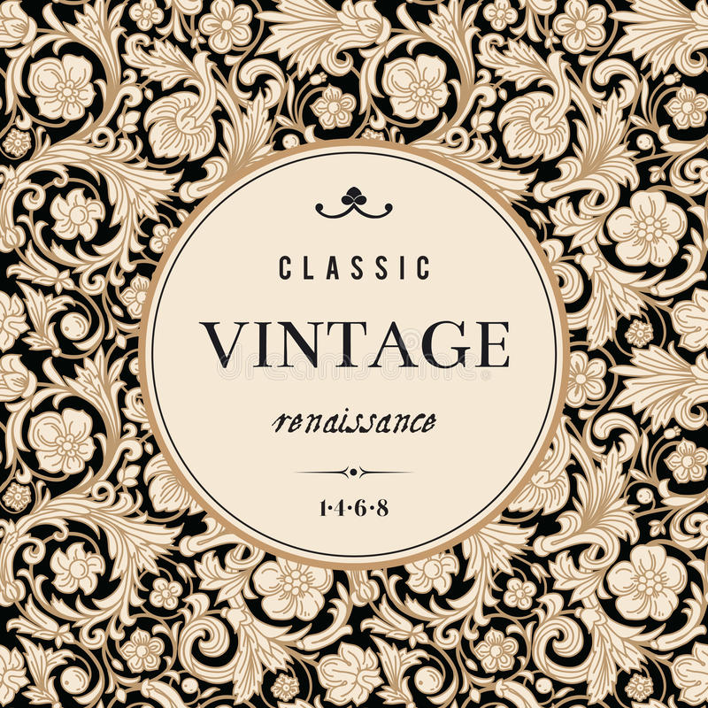 Vintage vector card in classical baroque style. vector illustration