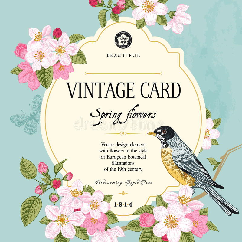Free Vintage Vector Card Spring. Royalty Free Stock Image - 39109296
