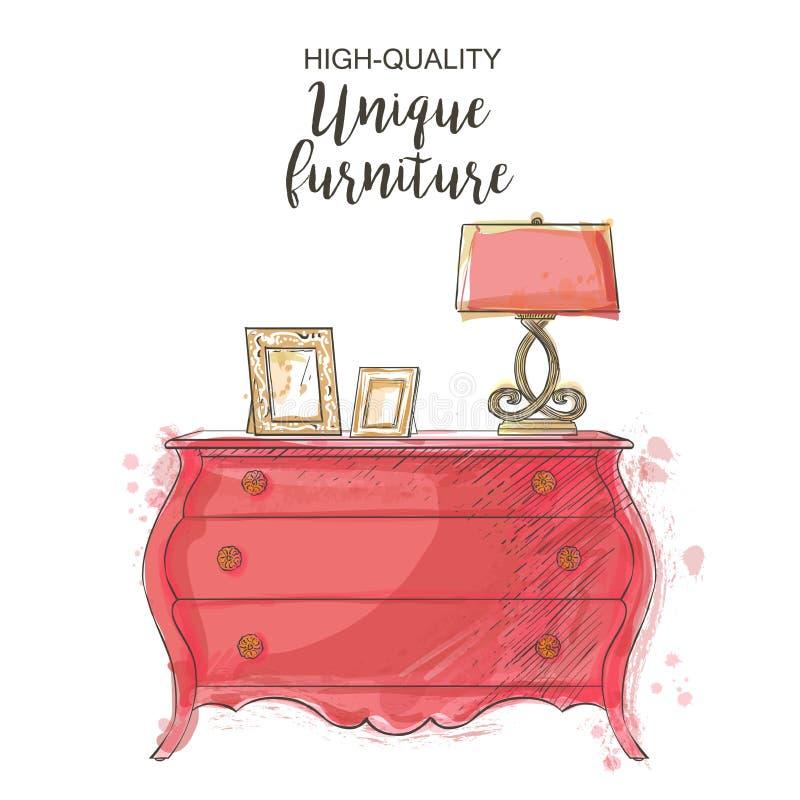 Vintage vector chest. Elegant antique vintage vector chest isolated sketch hand drown furniture vector illustration