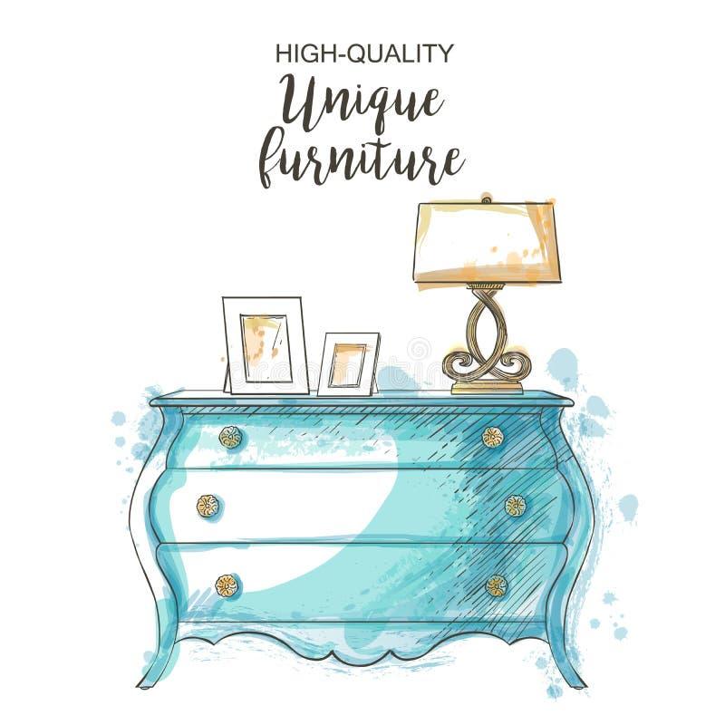 Vintage vector chest. Elegant antique vintage vector chest sketch hand drown furniture royalty free illustration