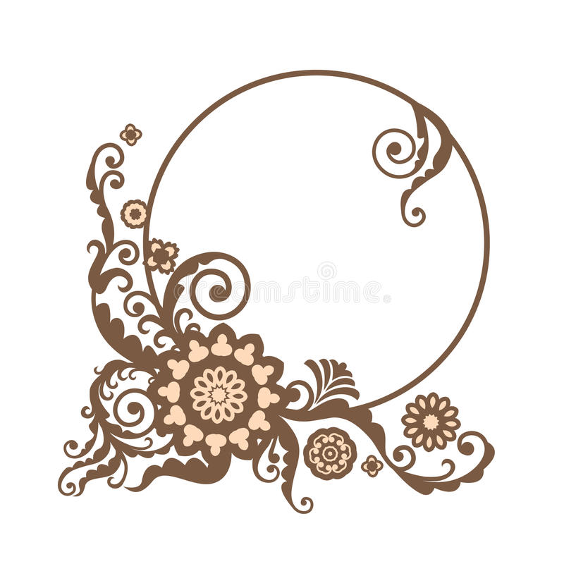 Vintage Vector Circle Frame With Floral Elements, Card Design Stock ...