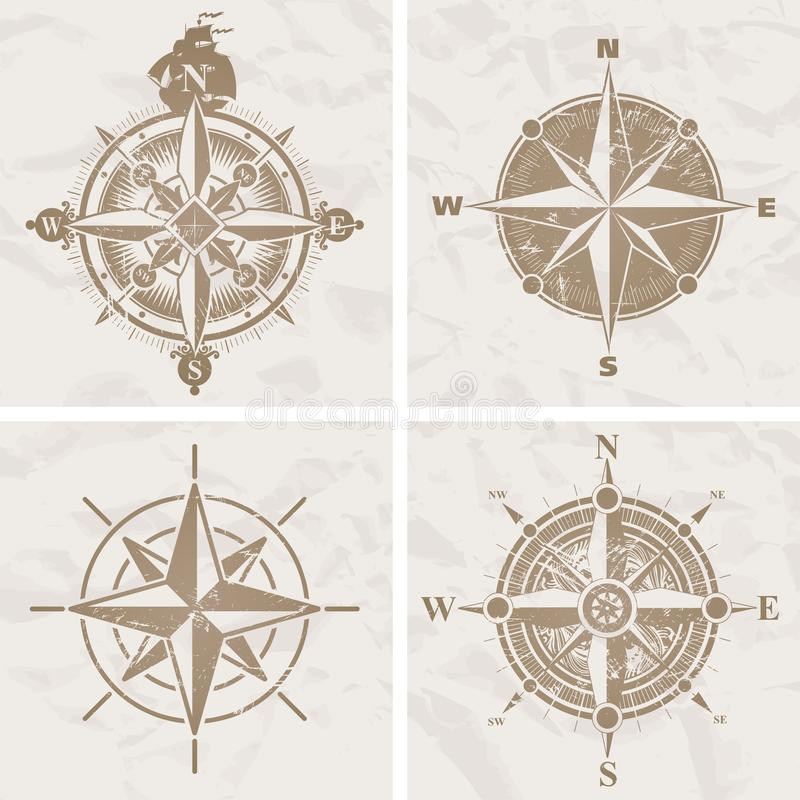 Vintage vector compass rose. Vector illustration with four vintage compass rose