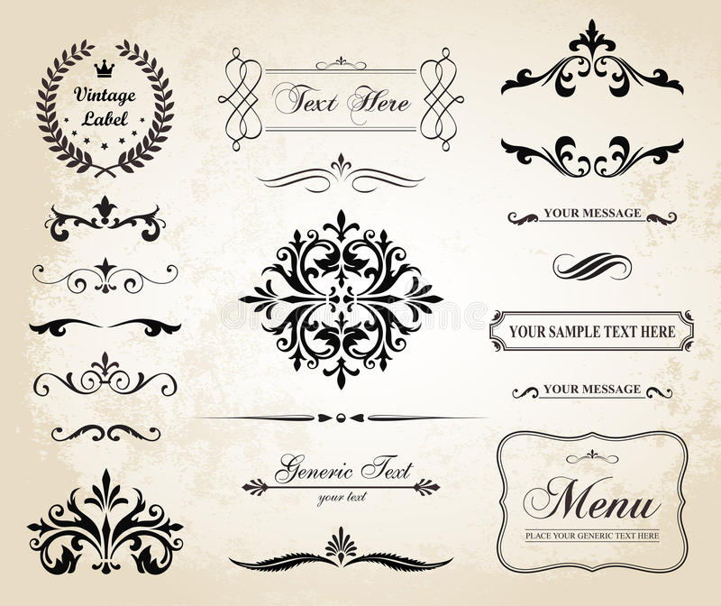 Vintage Vector Decorative Ornament Borders and Page Dividers. This image is a vector file representing a set of Vintage Decorative Ornament Borders and Page stock illustration