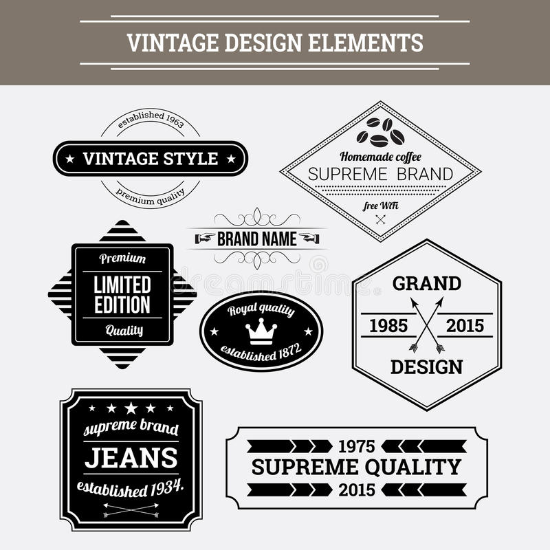 Vintage vector design elements. Retro style typographic labels vector illustration