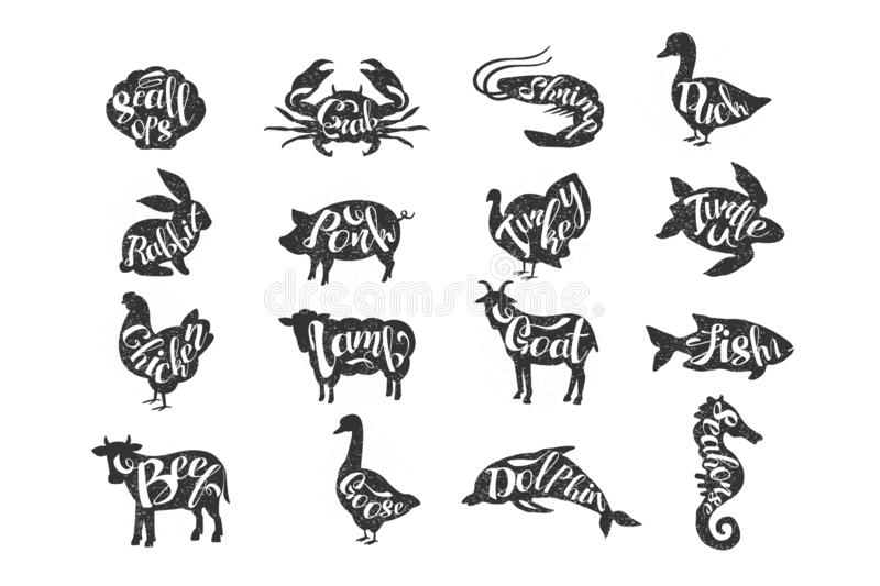 Vintage vector of farm animals and sea animals with lettering. Rabbit, pork, turkey, chicken, lamb, goat, beef, duck. Goose, Silhouette of turtle, scallops royalty free illustration