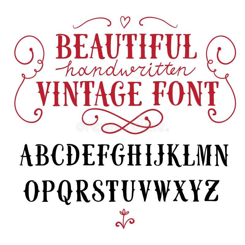 Vintage vector font stock illustration