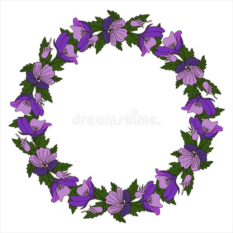 Vintage vector frame with summer flowers. Flower wreath for beautiful design. Vintage vector frame with summer flowers. Beautiful design vector illustration