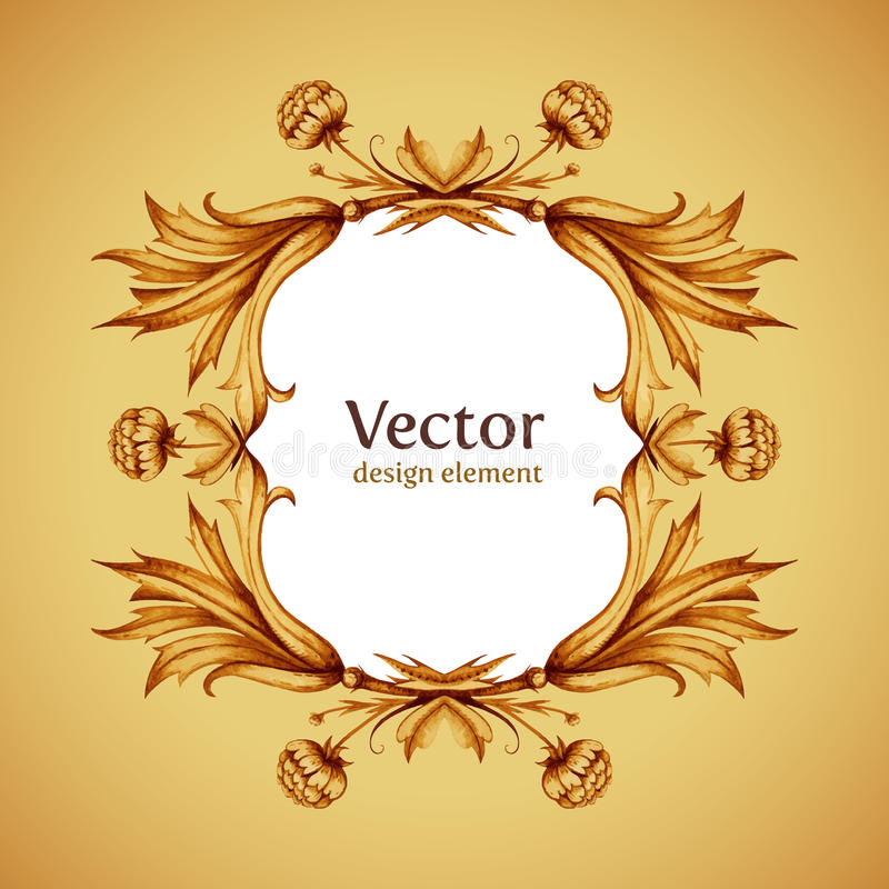 Vintage vector frame in victorian style. Hand stock illustration
