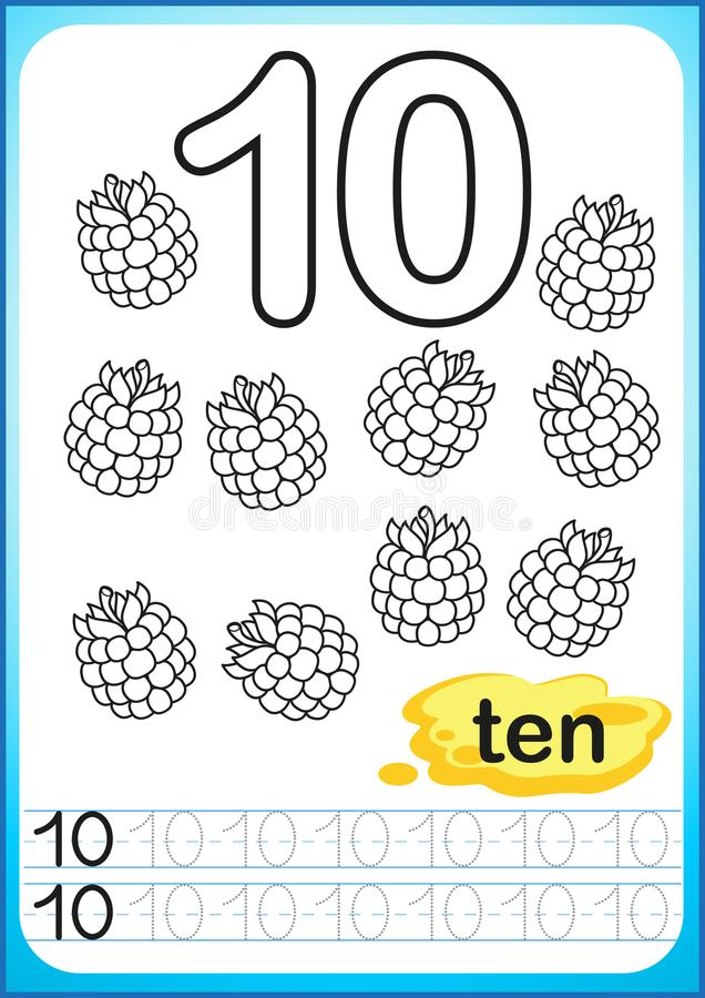 Printable worksheet for kindergarten and preschool. Exercises for writing numbers. Simple level of difficulty. Restore dashed line vector illustration