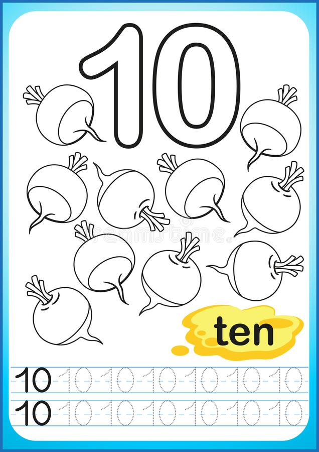 Printable worksheet for kindergarten and preschool. Exercises for writing numbers. Simple level of difficulty. Restore dashed line. And color the picture vector illustration