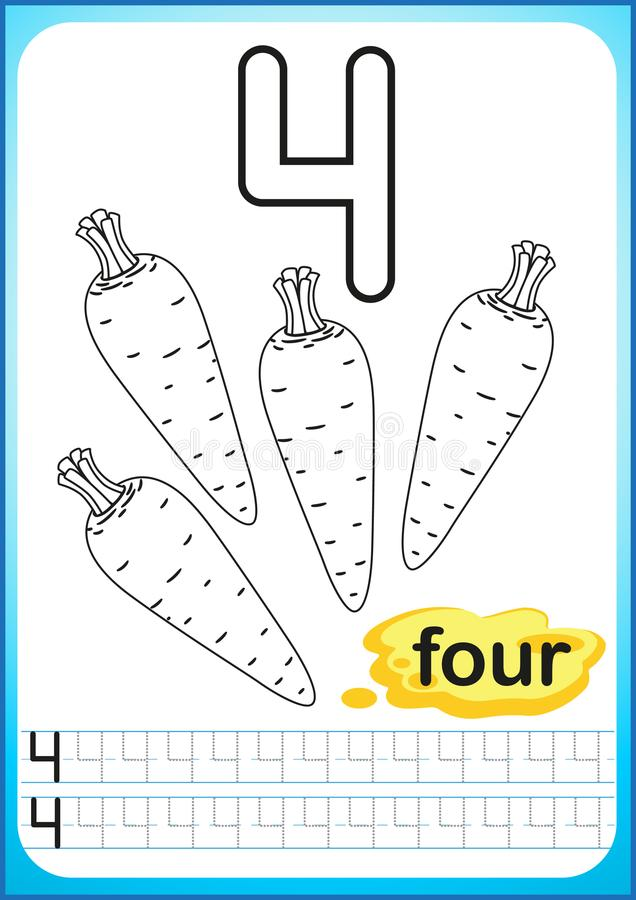 Printable worksheet for kindergarten and preschool. Exercises for writing numbers. Simple level of difficulty. Restore dashed line stock illustration