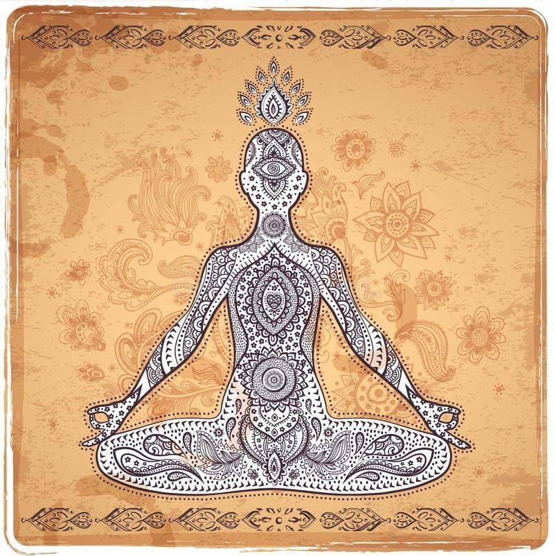Vintage vector illustration with a meditation pose. Set of ornamental Indian elements and symbols stock illustration