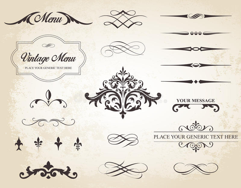 Vintage Vector Label Page Dividers and Borders. This image is a vector set that contains calligraphic elements, borders, page dividers, page decoration and stock illustration