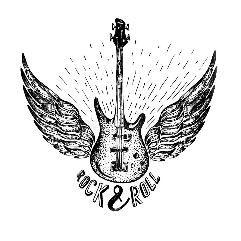 Vintage vector label with rock and roll forever , guitar. Vintage vector label with rock and roll forever and guitar. T-Shirt Print. Music design. Hand drawn vector illustration