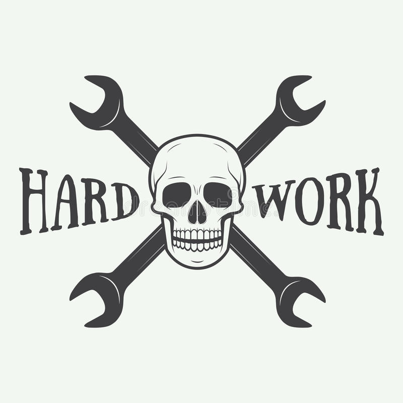 Vintage Vector Mechanic Logo Label With Skull Wrench