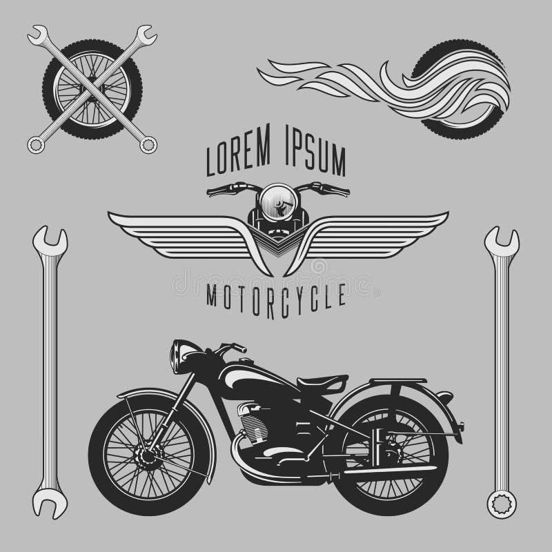 Vintage vector motorcycle logos stock illustration