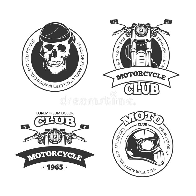 Vintage vector motorcycle or motorbike club emblems. Vintage vector motorcycle or motorbike club logo set. Chopper helmet and skull for motorcycle club vector illustration