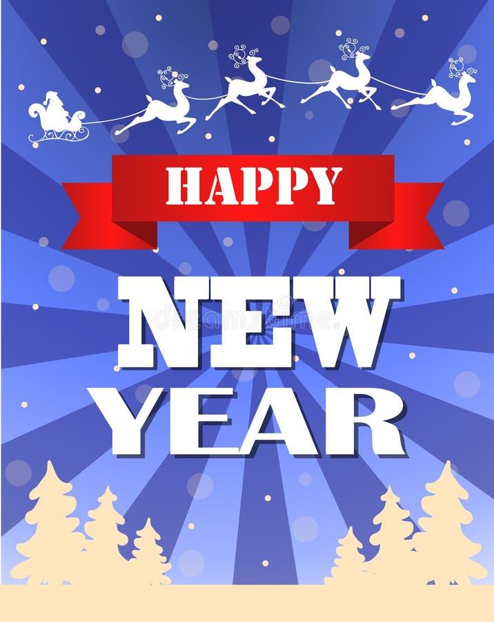 Vintage vector New year card design. Vintage vector New years card with typography design and trees royalty free illustration