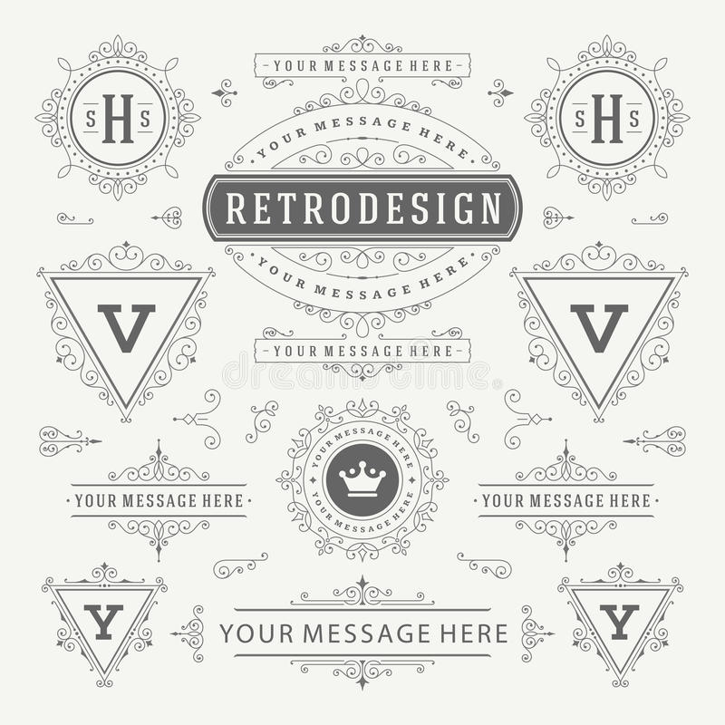 Vintage Vector Ornaments Decorations Design Elements. Flourishes calligraphic combinations Retro Logo. Royal Logos, Crest Logos, Greeting cards, Ornament Logos stock illustration