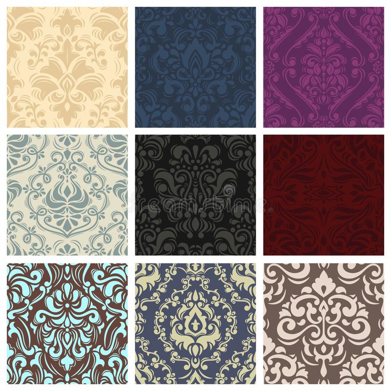 Vintage vector pattern seamless retro floral wallpaper or backdrop with ornament texture in victorian or baroque style royalty free illustration