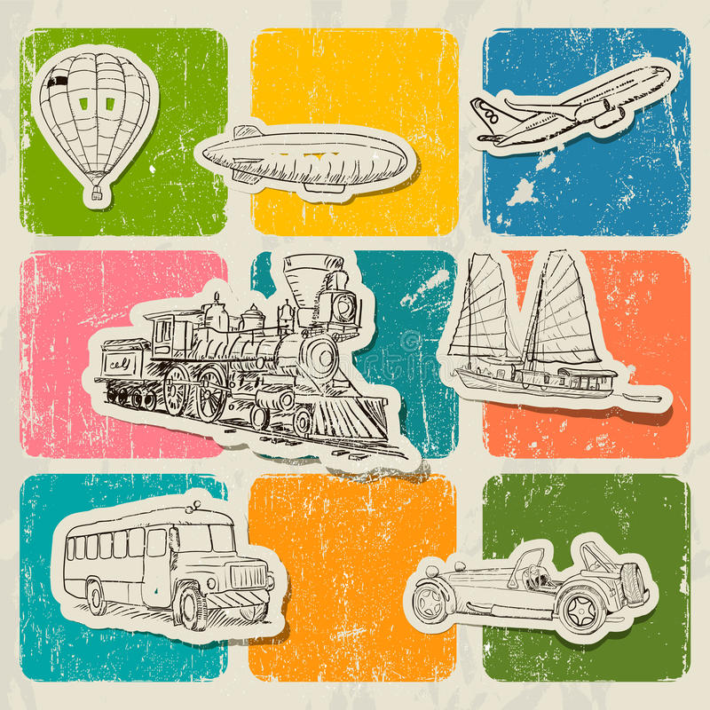 Vintage vector poster with different vehicles. Vector illustration EPS10 stock illustration