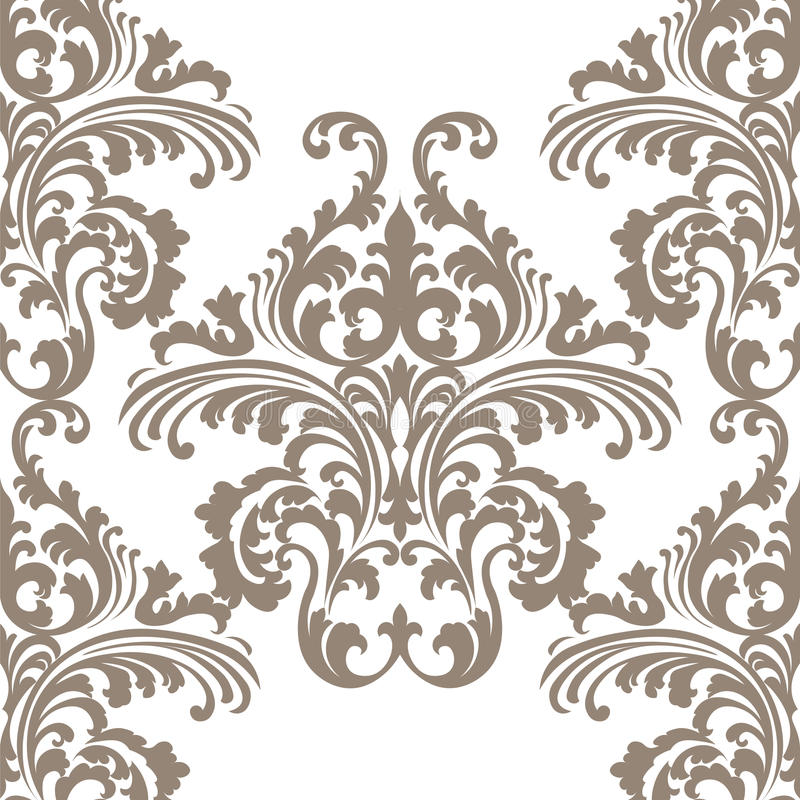 Vintage Vector Rococo Floral Ornament Damask Pattern Stock