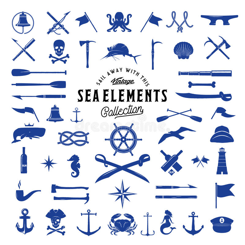 Vintage Vector Sea or Nautical Icon Elements Set for Your Retro Labels, Badges and Logos. Isolated royalty free illustration