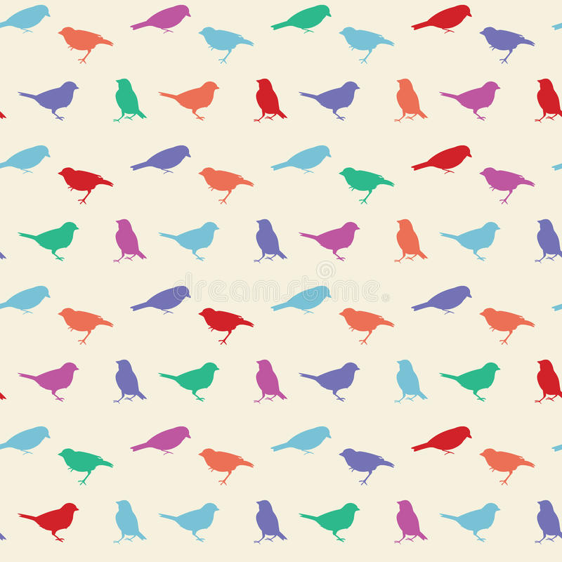 Vintage vector seamless pattern with birds stock illustration