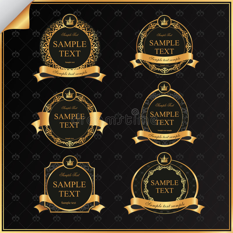 Vintage vector set of black frame label with gold stock illustration