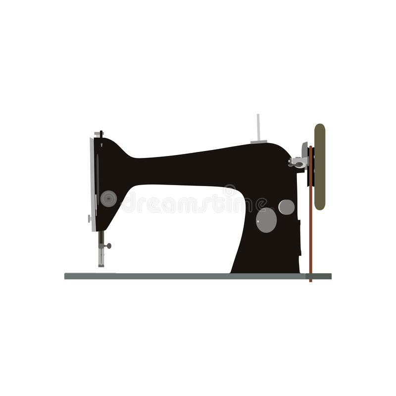 Vintage Vector Sewing Machine Inky Illustration Side View Retro