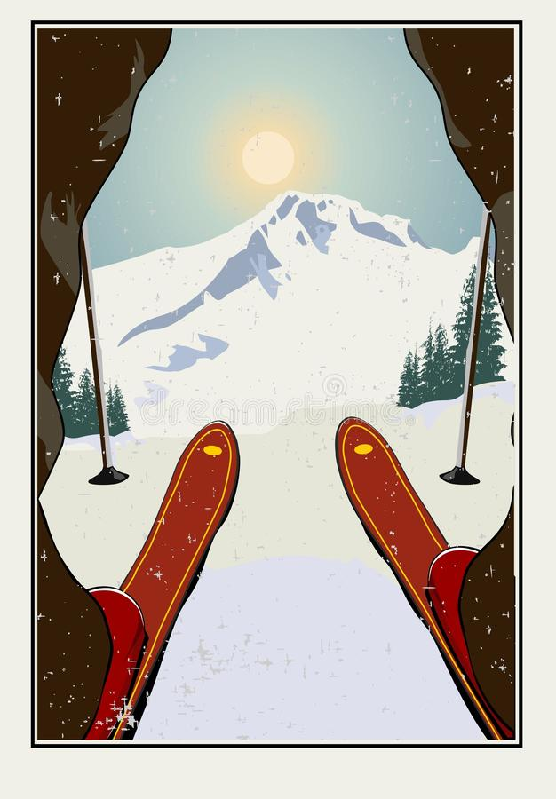 Vintage vector. Skier getting ready to descend the mountain. Winter background. Grunge effect it can be removed. stock illustration