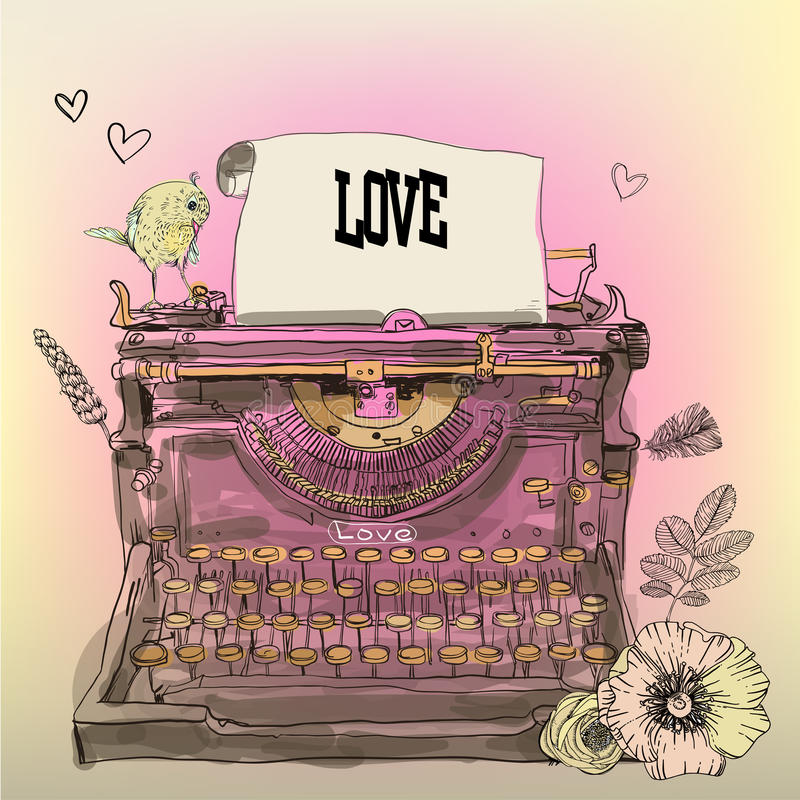 Vintage Vector Typewriter. With flowers and bird vector illustration
