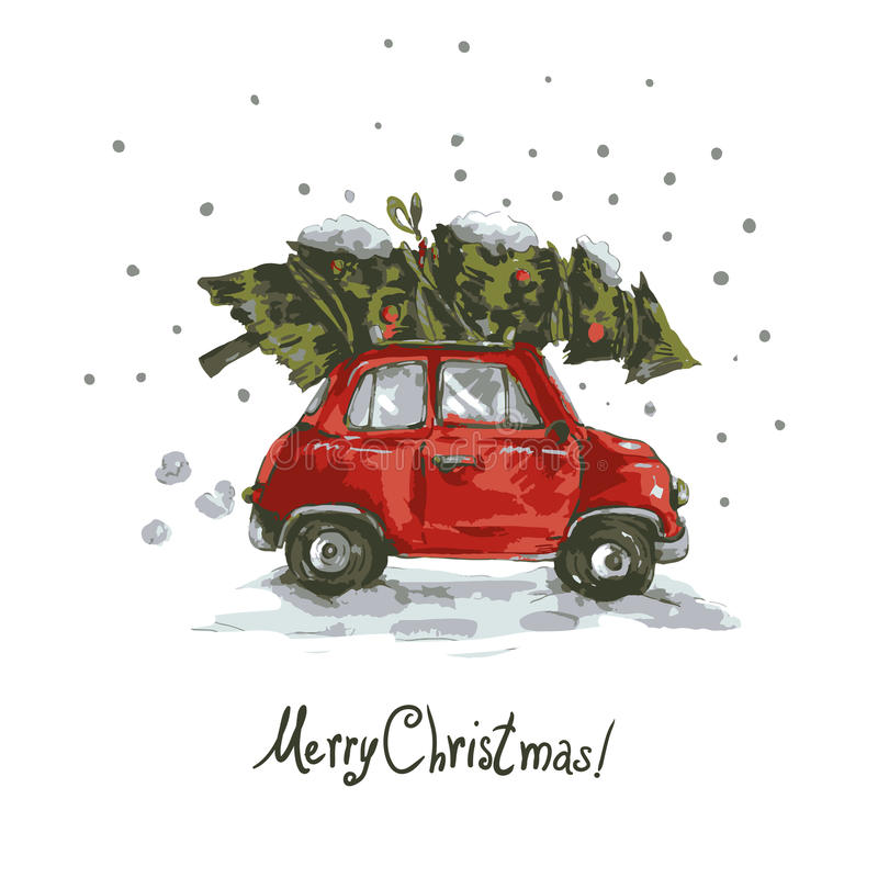 Winter Greeting Card With Red Retro Car Christmas Tree Vintage Vector Merry And Happy New Year Illustration