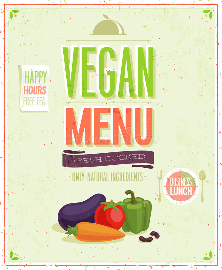 Vintage Vegan Menu Poster. stock illustration