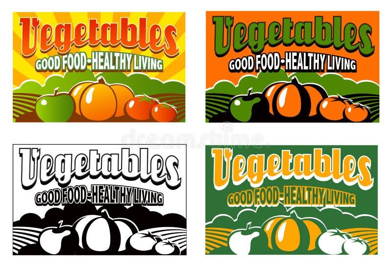 Vintage vegetable crate label stock illustration