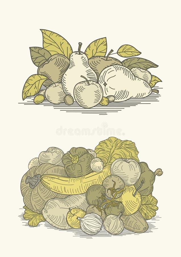 Download Vintage Vegetables And Fruits Stock Vector - Image: 34828206