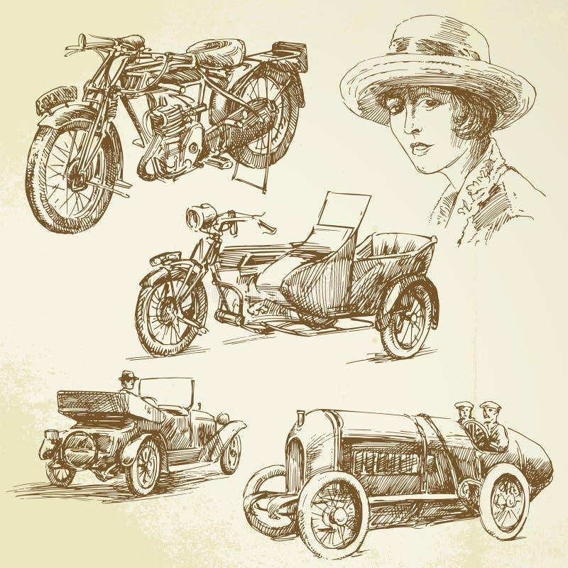 Vintage vehicles stock illustration