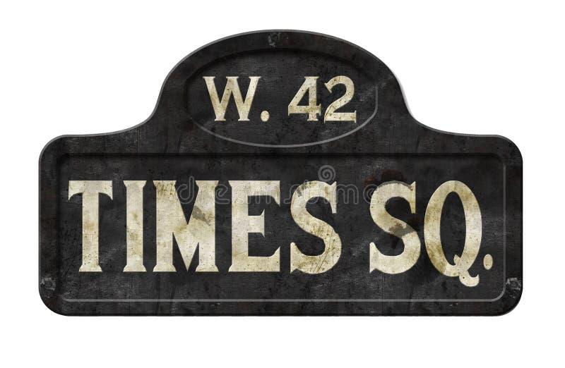 Vintage velho da antiguidade do sinal de rua do Times Square de New York City imagem de stock