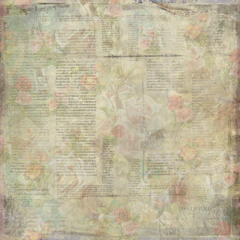 Vintage velho gasto escrito a textura de papel floral ilustração royalty free