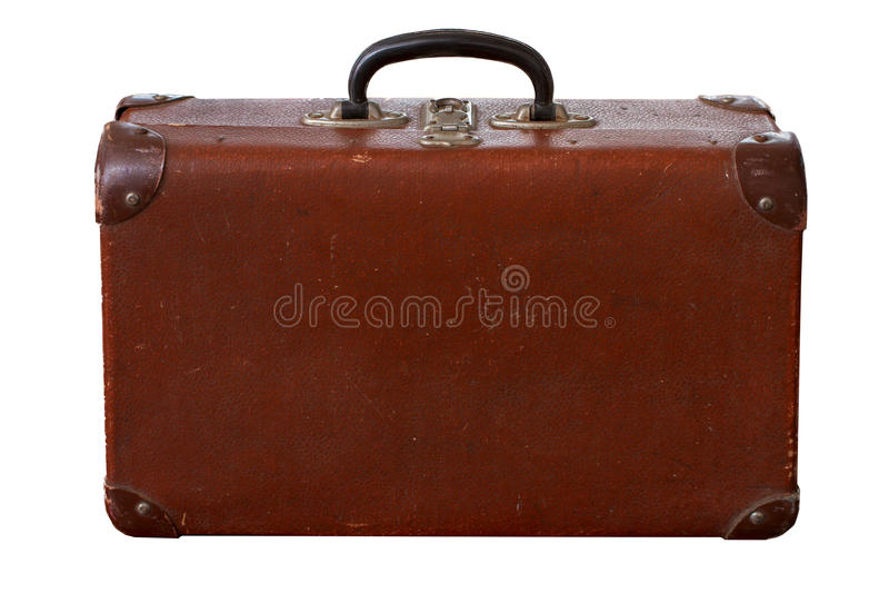Vintage velho isolado Dusty Brown Suitcase fotos de stock