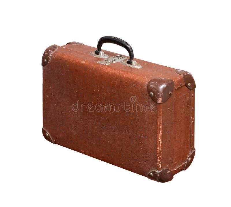Vintage velho isolado Dusty Brown Suitcase imagens de stock