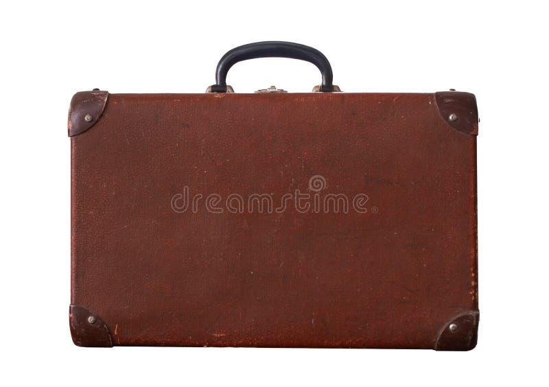 Vintage velho isolado Dusty Brown Suitcase fotografia de stock royalty free