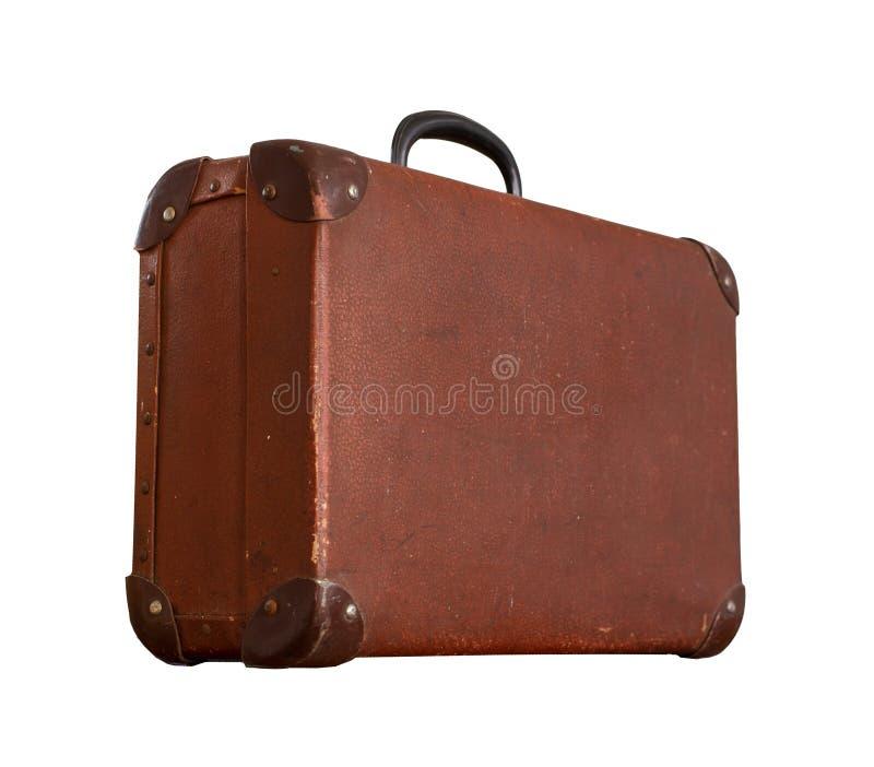 Vintage velho isolado Dusty Brown Suitcase foto de stock royalty free