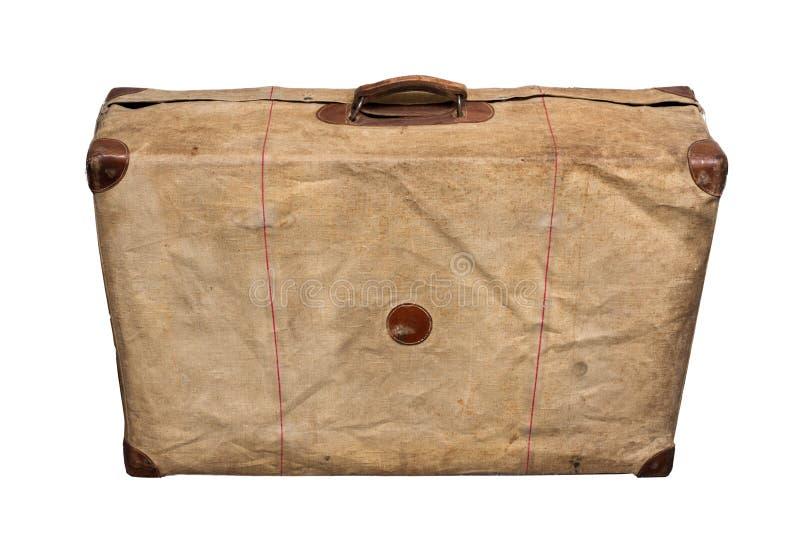 Vintage velho isolado Dusty Suitcase em uma tampa fotos de stock royalty free