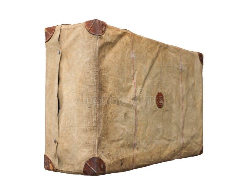 Vintage velho isolado Dusty Suitcase em uma tampa fotografia de stock royalty free