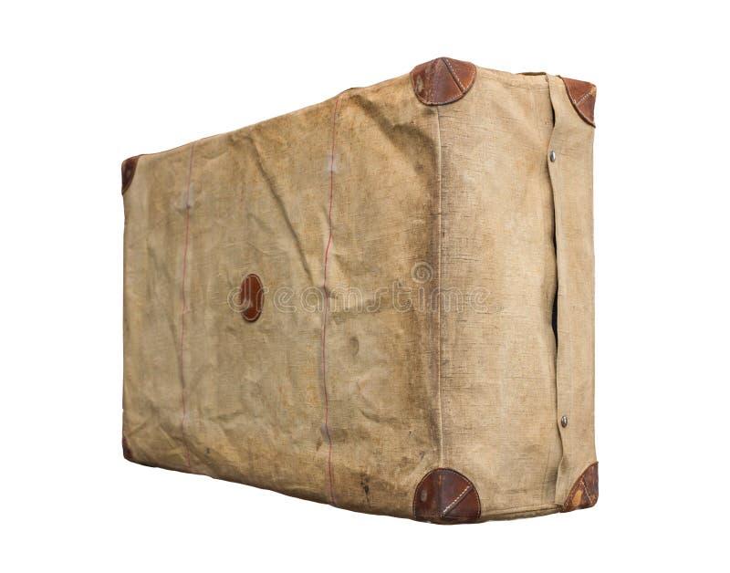 Vintage velho isolado Dusty Suitcase em uma tampa foto de stock royalty free
