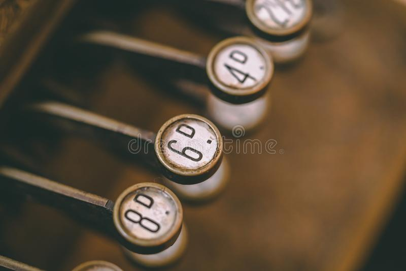 Vintage velho Typemachine/teclado da forma imagem de stock royalty free